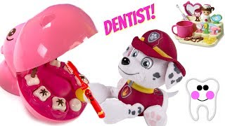 Paw Patrol Marshall is a Dentist  Fun to Brush Teeth for Children