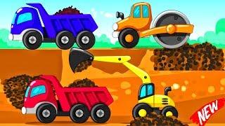 Little Builder Truck Cartoons | Trucks Backhoe Excavator, Crane, Diggers For Baby - Videos For KIDS
