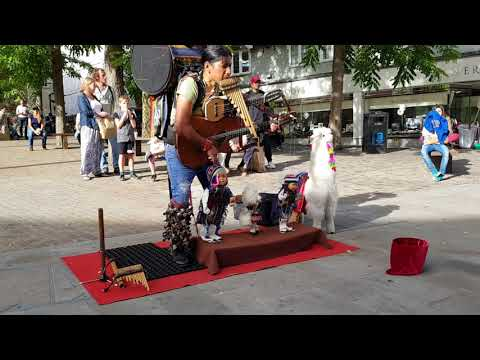 Peruvian One Man Band Busker & Puppet pan flute music real talent addictive MUSIC El Cóndor pasa