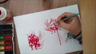 speed painting red spider lilies (Tokyo ghoul Rize flowers)