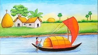 How to draw village scenery with oil pastel step by step