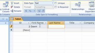Create a Table in Access 2007