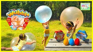 AMAZING WUBBLE BUBBLE BALL Opening Surprise Eggs Spiderman Egg Family Fun Toys Review