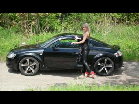 Sexy Ann new high heels shiny leather legging with car and at the bus stop