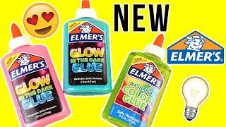 TESTING NEW ELMER'S GLUE FOR SLIME!!! GLOW IN THE DARK GLUE! COLORED CLEAR GLUE! 💦