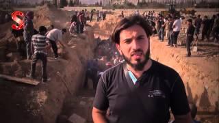 دفن شهداء مجزرة اليوم في مدينة دوما في الغوطة الشرقية 16 8 2015