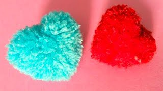 Heart shape pompom - handmade gift - Pom Pom using cardboard - cool and creative