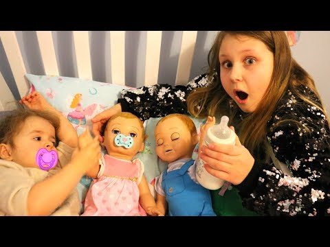 Xxx Mp4 Kids Pretend Play Taking Care Of 3 Babies Feeding And Night Time Routine Video 3gp Sex