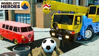 Crane Pulling Soccer Ball from Puddle. Wheel City Heroes (WCH)   Street Vehicles Cartoon for Kids