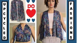 DIY Summer Vest and Halter Top - Woman's Blouse Transformation - Upcycled Fashions Ep. 8