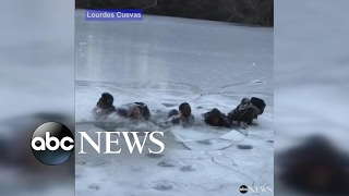 Teens fall through ice in Central Park