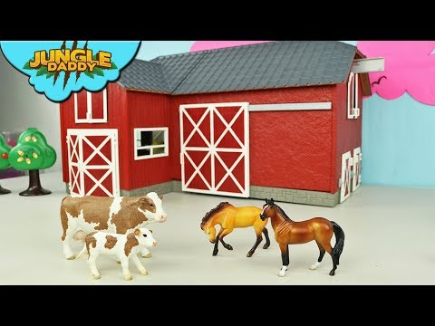 FARM ANIMALS Delivery in Red Barn Horse Cow schleich wild life jungle