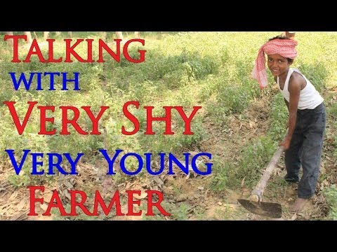 Talking in Hindi with Very Shy Indian Farming Kid