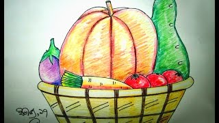 How to draw a vegetables basket