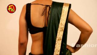 How to Wear Saree -Backless Bra Low Back  -Dark Green