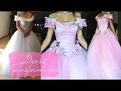 Thrifted Dress Transformation, Pink princess Gown, DIY