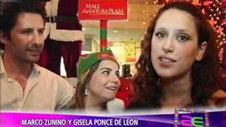 Marco Zunino y Gisela Ponce de León encienden árbol navideño (América Espectáculos 08-12-2010)