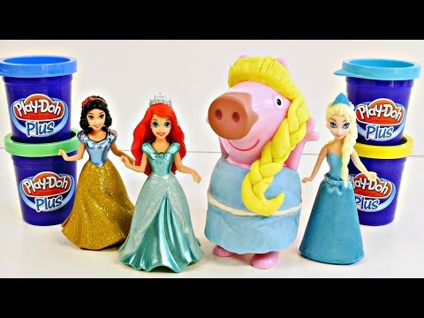 Peppa Pig Play Doh Plus Disney Princess Makeover with Frozen Elsa Mermaid Ariel and Snow White