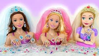 Giant Rapunzel Barbie Styling Head doll Wedding Makeover Earring Kepala boneka Barbie boneca Cabeça