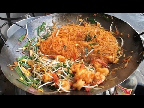 Asian Street Food Fast Food Street in Asia, Cambodian food #150, Fry Rice Noodles Meats