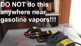 Jump start dead lithium ion cordless drill battery
