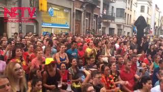 Brazil vs Bgium : World Cup 2018 : Belgium fans celebrating Belgium's win over Brazil in QF