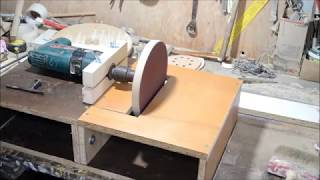 How to make a disc sander using a drill support and a sanding disc.
