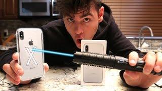 iPhone X VS MOST POWERFUL LASER! | David Vlas