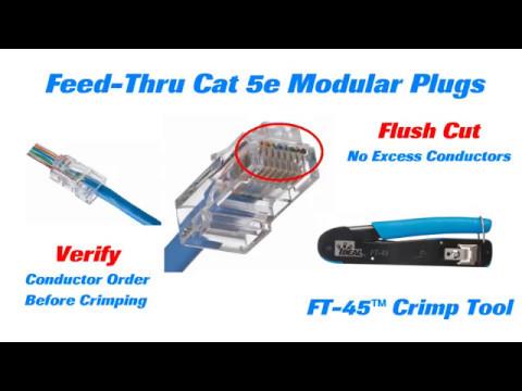 IDEAL Cat 5e Feed Thru Modular Plugs Long