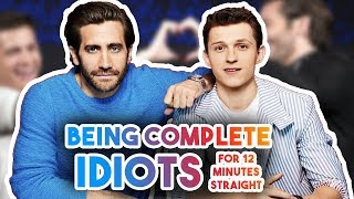TOM HOLLAND & JAKE GYLLENGHAAL BEING IDIOTS FOR 12 MINS   FUNNY MOMENTS SPIDER-MAN