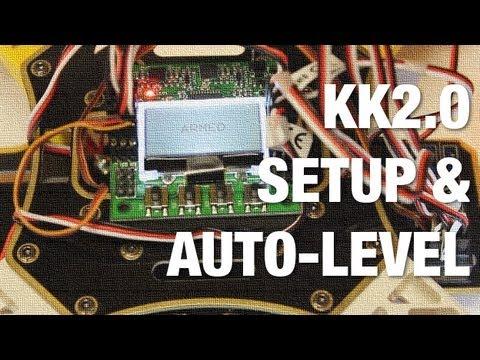 KK2.0 Multicopter ESC Calibration, Motor Layout, and Auto-Level w Default Settings on AeroSky Quad