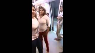 Girl fight in metro  HINDI audio