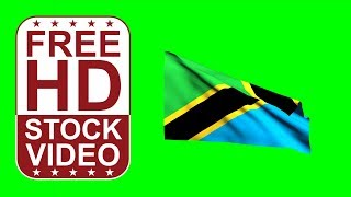 Free Stock Videos –Tanzania flag waving on green screen 3D animation