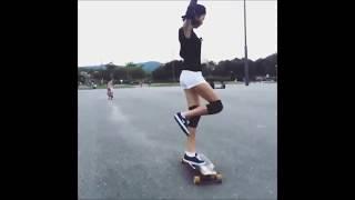Cute Korean Girl Dancing While Longboarding