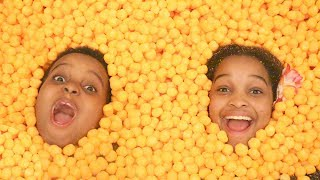 Shiloh and Shasha CHEESEBALL FOOD CHALLENGE! - Epic Nerf Game - Onyx Kids