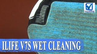 Влажная уборка Ilife V7S  как робот пылесос моет пол тест в комнате