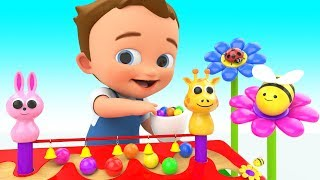 Learning Colors for Children with Baby Fun Play Wooden Multi Tier Color Balls Slider ToySet Kids Edu