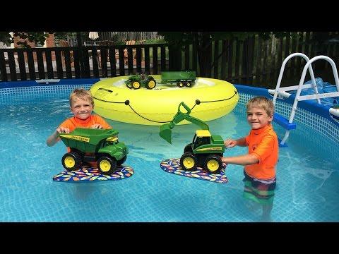 John Deere Excavator Toys in the Pool