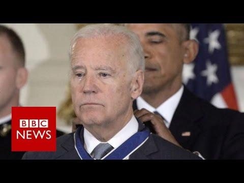 watch Obama-Biden 'bromance' ends in tears - BBC News