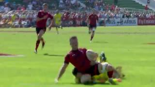 Ref Rasta takes a tumble as Wales score awesome breakaway try!