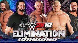 WWE 2K18 ELIMINATION CHAMBER - ROMAN REIGNS VS LESNAR VS ORTON VS AJ STYLES VS AMBROSE VS ROLLINS