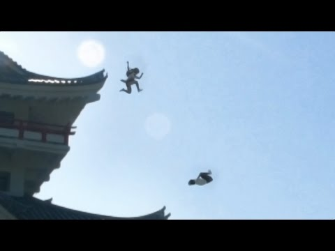 忍者女子高生   制服で大回転   japanese school girl chase  #ninja