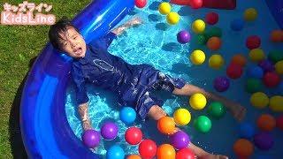 プール 水遊び ボールプール アンパンマンショベルカー 人気動画をまとめて連続再生!! こうくんねみちゃん Pool Anpanaman toy