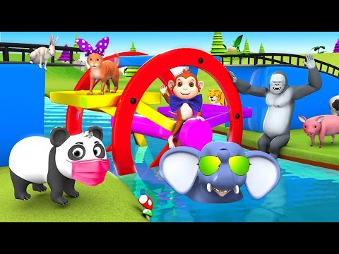 Funny Animals Play with Ferry Wheel Water Toy in Water to Cross the River 3D Animated Funny Videos