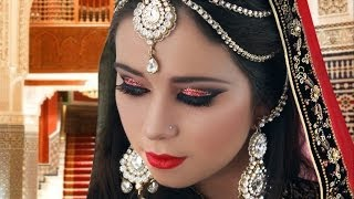 Red and Gold Glitter Pakistani Indian Asian Bridal Makeup Tutorial