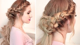 Braided half up half down hairstyle tutorial for long hair with curls