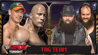 WWE Raw 2016 - The Rock & John Cena Vs Bray Wyatt & Braun Strowman Full Match HD