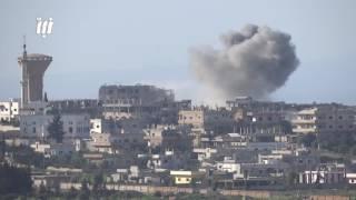 مشاهد من القصف بغارات الطيران الحربي وصواريخ الفيل على أحياء درعا البلد