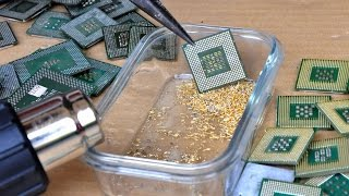 How To Recover Gold From CPU Processors. Goldgewinnung Stifte cpu. recovery recycling pins.