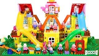 Peppa Pig Blocks Mega House Construction Sets - Lego Duplo House With Water Slide Toys For Kids #4